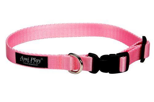 Obojek pro psa nylonový - růžový - 1,5 x 25 - 40 cm