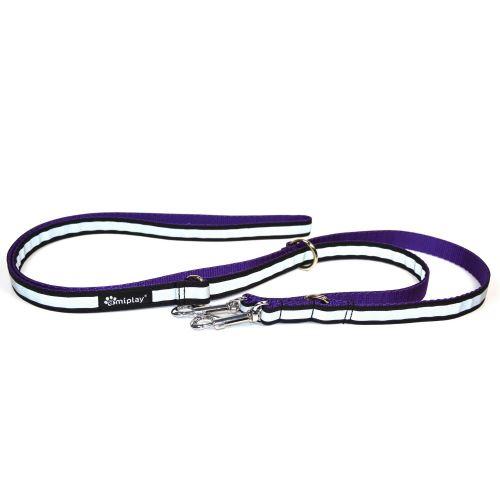 Vodítko pro psa přepínací nylonové reflexní - fialové - 2,5 x 100 - 200 cm