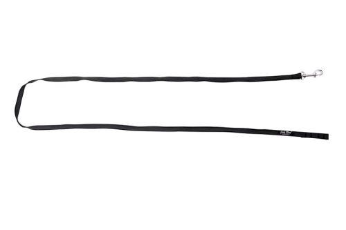 Vodítko pro psa výcvikové s vetkanou gumovou nítí - bez rukojeti - černé - 1,6 x 200 cm