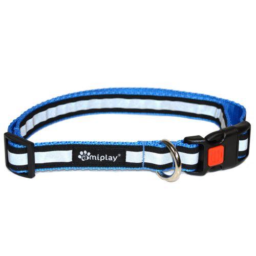 Obojek pro psa nylonový reflexní - bezpečnostní - modrý - 2,5 x 53 - 85 cm