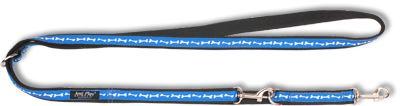 Vodítko pro psa přepínací nylonové - modré se vzorem kost - 2,5 x 100 - 200 cm