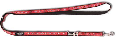 Vodítko pro psa přepínací nylonové - červené se vzorem kost - 2,5 x 100 - 200 cm