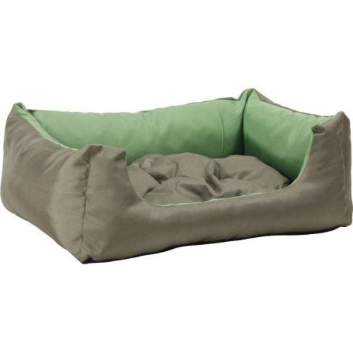 Pelech pro psa obdélníkový s polštářem - zelený - 100 x 80 x 24 cm