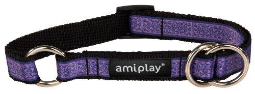 Obojek pro psa polostahovací nylonový - fialový se vzorem - 2,5 x 34 - 55 cm