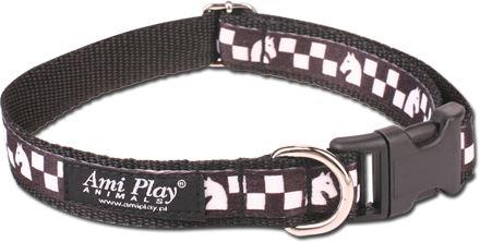 Obojek pro psa nylonový - bezpečnostní - černý se vzorem šachovnice - 2,5 x 53 - 85 cm