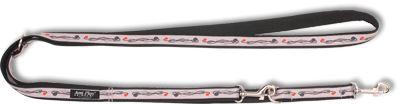 Vodítko pro psa přepínací nylonové - šedé se vzorem květina - 2,5 x 100 - 200 cm