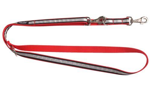 Vodítko pro psa přepínací nylonové reflexní - červené - 2 x 100 - 200 cm
